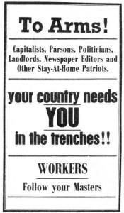 Αφίσα Ενάντια στην Στρατολόγηση από τους IWW (Βιομηχανικοί Εργάτες του Κόσμου)